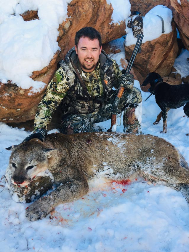 New Mexico mountain lion hunts - Lee with his lion taken at G3 Outfitters